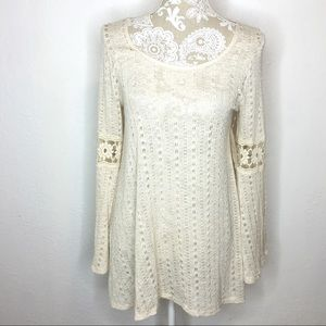 NWT Altar'd State cream open knit lace tunic MED